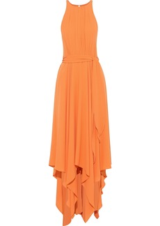 Halston Heritage Woman Belted Cutout Crepe Gown Orange