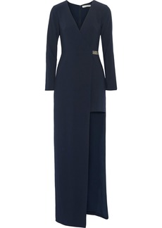 Halston Heritage Woman Asymmetric Crepe Wrap Gown Navy