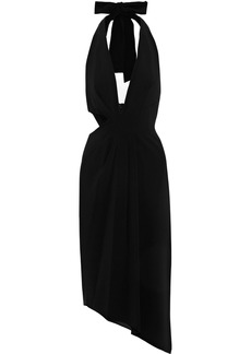Halston Heritage Woman Asymmetric Cutout Crepe Halterneck Midi Dress Black