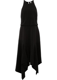 Halston Heritage Woman Asymmetric Satin-trimmed Cutout Stretch-crepe Dress Black