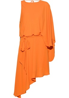Halston Heritage Woman Asymmetric Draped Crepe De Chine Mini Dress Orange