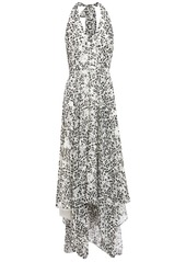 Halston Heritage Woman Asymmetric Printed Georgette Halterneck Midi Dress Ivory