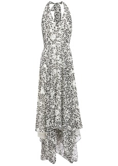 Halston Heritage Woman Asymmetric Printed Georgette Halterneck Midi Dress Ivory