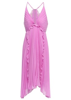 Halston Heritage Woman Asymmetric Ruffle-trimmed Plissé-georgette Dress Bubblegum