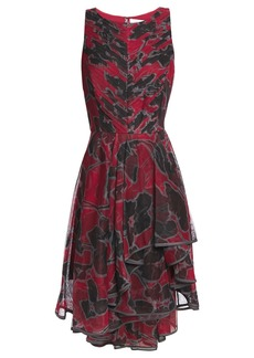 Halston Heritage Woman Asymmetric Ruffled Floral-print Tulle Dress Claret