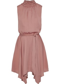 Halston Woman Asymmetric Belted Sateen Mini Dress Antique Rose