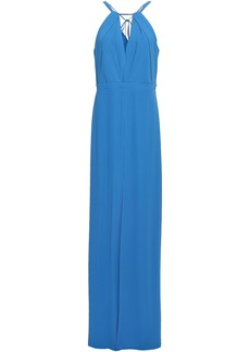 Halston Heritage Woman Bead-embellished Washed-crepe Gown Blue