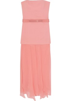 Halston Heritage Woman Belted Crepe And Georgette Gown Pastel Pink