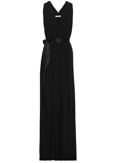 Halston Heritage Woman Front-split Belted Crepe De Chine Gown Black