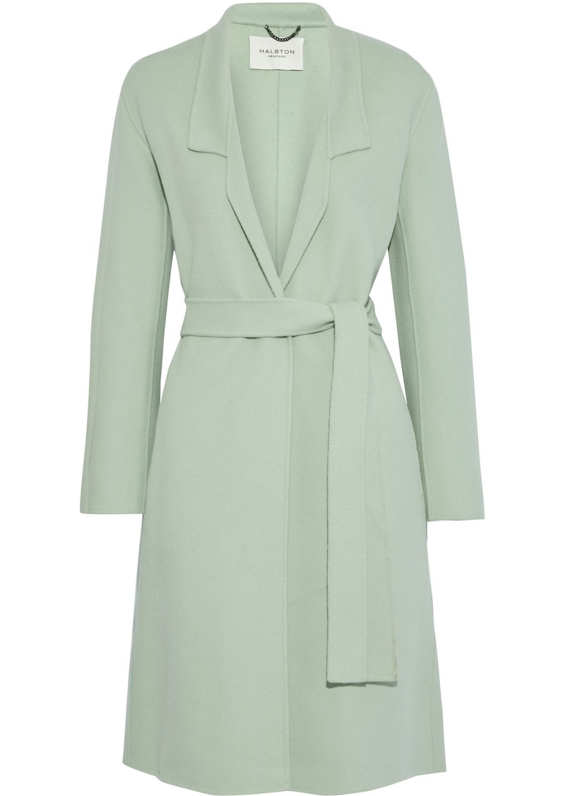Halston Heritage Woman Belted Wool-blend Felt Coat Light Green