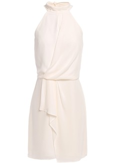 Halston Heritage Woman Bow-detailed Draped Crepe Mini Dress Ecru