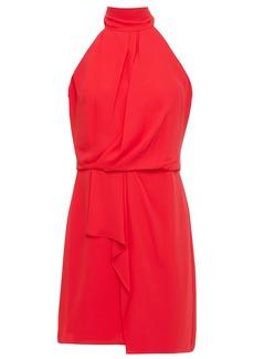 Halston Heritage Woman Harlow Bow-detailed Draped Crepe De Chine Mini Dress Tomato Red