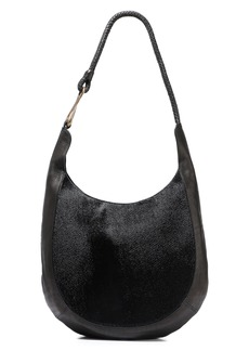 Halston Heritage Woman Brooke Calf Hair And Textured-leather Shoulder Bag Black