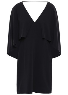 Halston Heritage Woman Cape-effect Stretch-crepe Mini Dress Black