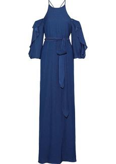 Halston Heritage Woman Cold-shoulder Belted Seersucker Gown Navy