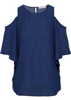 Halston Heritage Woman Cold-shoulder Chiffon-paneled Seersucker Top Navy