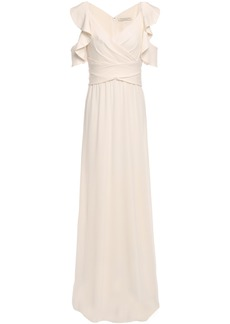 Halston Heritage Woman Cold-shoulder Wrap-effect Ruffle-trimmed Crepe-jersey Gown Ivory