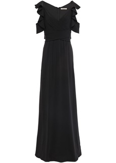 Halston Heritage Woman Cold-shoulder Wrap-effect Ruffle-trimmed Crepe-jersey Gown Black