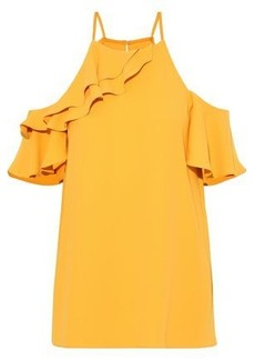 Halston Heritage Woman Cold-shoulder Ruffled Crepe Blouse Saffron