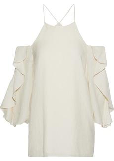 Halston Heritage Woman Cold-shoulder Ruffled Striped Seersucker Blouse Cream