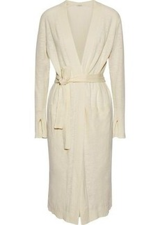 Halston Heritage Woman Cotton And Linen-blend Cardigan Cream