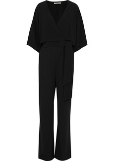 Halston Heritage Woman Wrap-effect Layered Crepe Jumpsuit Black