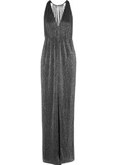 Halston Woman Cutout Metallic Ribbed-knit Gown Gunmetal
