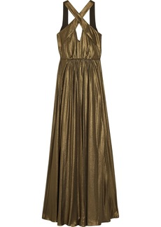 Halston Heritage Woman Cutout Pleated Lamé Gown Bronze