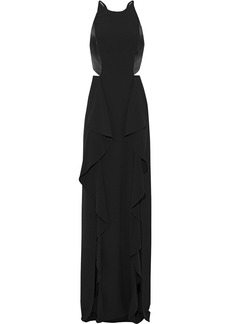 Halston Heritage Woman Cutout Satin-paneled Crepe Gown Black