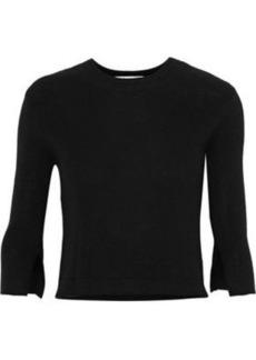Halston Heritage Woman Cutout Silk And Cashmere-blend Sweater Black