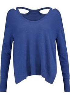 Halston Heritage Woman Cutout Stretch-knit Sweater Blue