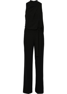 Halston Heritage Woman Roni Belted Draped Crepe Wide-leg Jumpsuit Black