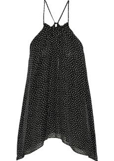 Halston Heritage Woman Draped Printed Silk-chiffon Top Black