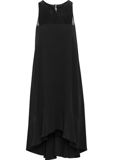 Halston Heritage Woman Embroidered Tulle-paneled Crepe De Chine Dress Black