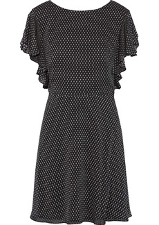Halston Heritage Woman Ruffle-trimmed Fil Coupé Georgette Mini Dress Black