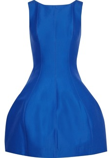 Halston Heritage Woman Flared Cotton And Silk-blend Faille Mini Dress Cobalt Blue