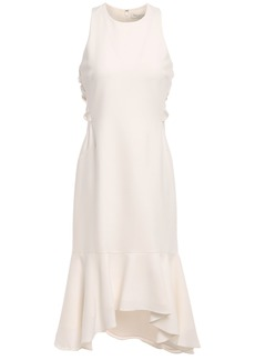 Halston Heritage Woman Fluted Twisted Mesh-trimmed Stretch-crepe Midi Dress Ivory