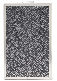 Halston Heritage Woman Frame Large Stingray-effect Leather Box Clutch Silver