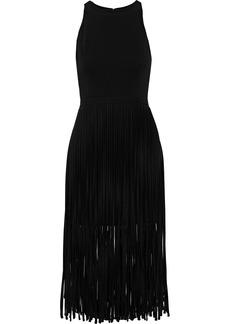 Halston Heritage Woman Fringed Crepe Mini Dress Black