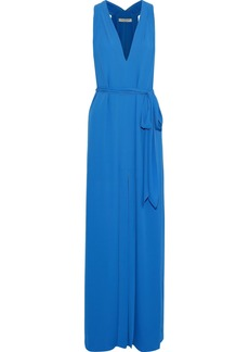 Halston Heritage Woman Front-split Belted Crepe De Chine Gown Blue