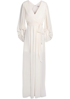 Halston Heritage Woman Gathered Pleated Crepe De Chine Gown Ivory