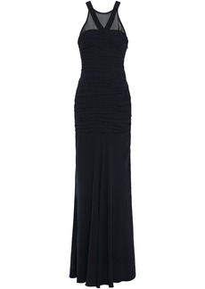 Halston Heritage Woman Georgette-paneled Cutout Ruched Crepe De Chine Gown Midnight Blue
