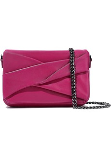 Halston Heritage Woman Grace Small Twisted Leather Clutch Magenta