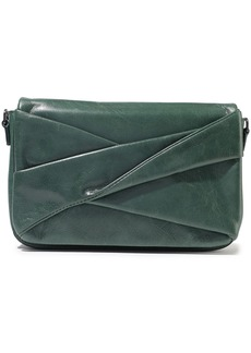 Halston Heritage Woman Grace Small Pleated Washed-leather Shoulder Bag Emerald