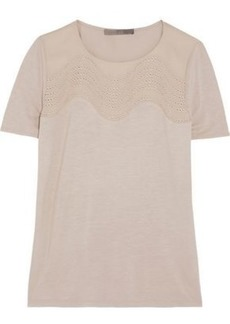 Halston Heritage Woman Jersey And Embroidered Silk Top Stone