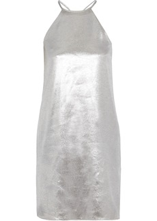 Halston Heritage Woman Lamé Halterneck Mini Dress Silver