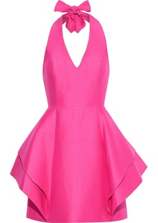 Halston Heritage Woman Layered Cotton And Silk-blend Halterneck Mini Dress Bright Pink