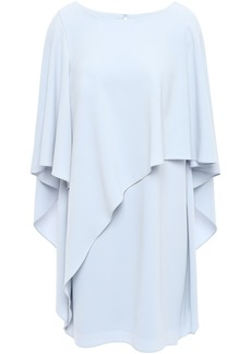 Halston Heritage Woman Layered Draped Crepe Mini Dress Sky Blue