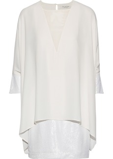 Halston Heritage Woman Layered Georgette-paneled Crepe And Sequined Tulle Mini Dress Cream