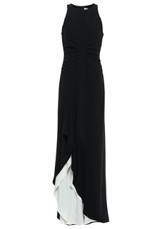 Halston Heritage Woman Layered Ruched Crepe Gown Black
